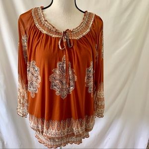 NWOT INC Orange Blouse Sequin Embroidery Sheer L
